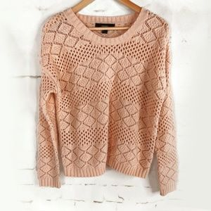 Forever 21 Peach Diamond Big Knit Sweater